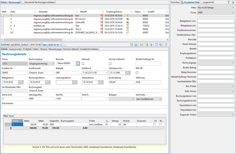 Rechnungseingangsworkflow Hauptmaske